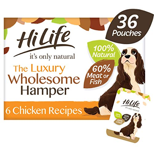 HiLife It's Only Natural Luxury Dog Food The Wholesome Hamper, 36 x 100g Pouches