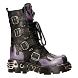 New Rock M-591-S5 Purple Flame Punk Boots Black Leather Gothic Heavy Biker 41