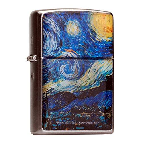 Nacre fait à la main Starry Night par Van Gogh Peinture Motif Flip Top coupe-vent Briquet à l'huile Camping à tabac de poche Chromé en métal