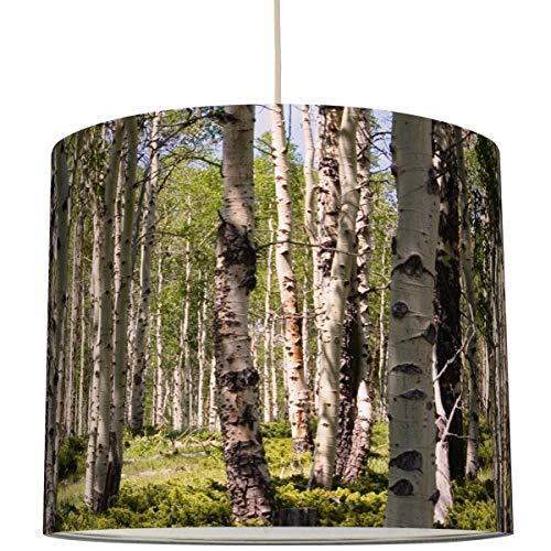 Anna Wand Lampenschirm/Hängelampe BIRKENWALD – Schirm für Lampen mit Wald-Motiv und Birken – Sanftes Licht auch für Tischleuchte oder Stehlampe – ø 40 x 34 cm