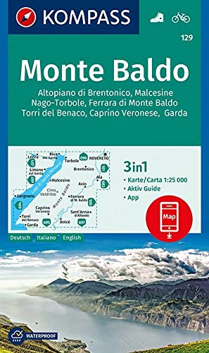 KOMPASS Wanderkarte Monte Baldo: 3in1 Wanderkarte 1:25000 mit Aktiv Guide inklusive Karte zur offline Verwendung in der KOMPASS-App. Fahrradfahren. (KOMPASS-Wanderkarten, Band 129)