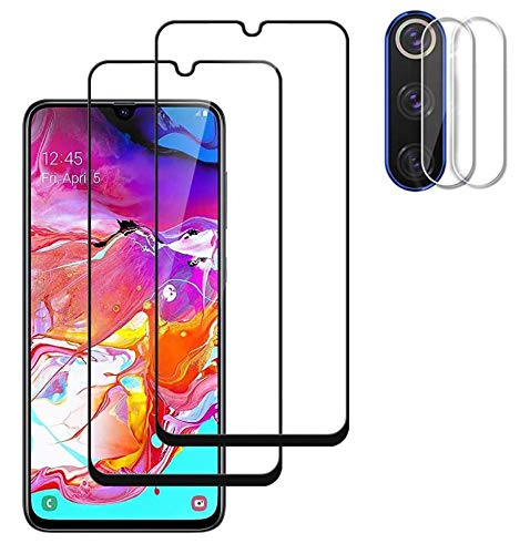 Screen Protector+ Camera Lens Protector for Samsung Galaxy A70 (2-Pack) [Anti-Scratch][Case Friendly] 9H Hardness 3D Full Coverage Tempered Glass Compatible for Samsung Galaxy A70 (Black)