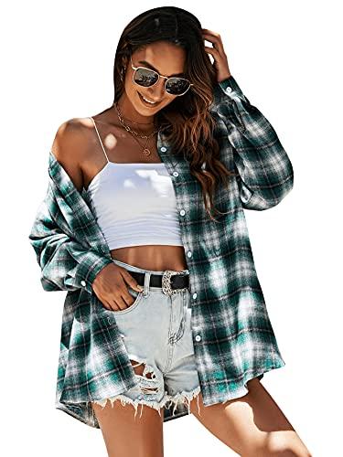 DIDK Camisa a cuadros para mujer con estampado de cuadros, verde y blanco, M