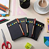 4 Pieces Spiral Notebook Business Notepad with Pens, Sticky Notes Index Tabs Holders Marker Colored Memo Notebooks, 5.7 x 3.9 Inch, 280 Sheets Lined Blank Pages (Black)