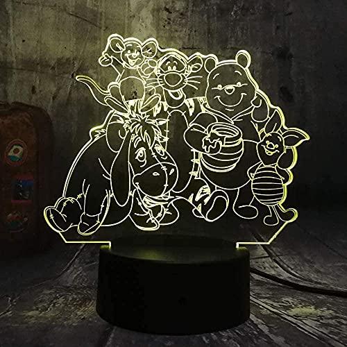 ilusión 3D Luz de Noche El control deslizante de la gran familia es único lámpara de escritorio creativa para cumpleaños Cambio de color colorido, con interfaz USB