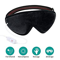 3D Heated Eye Mask, Far Infrared Electric Eye Massager, Reusable Moist Heat Eye Warm Compress Pad for Dry Eyes Pink Eyes Blepharitis Puffy Eyes MGD Relief, Built in Natural Stone Needle and Lavender