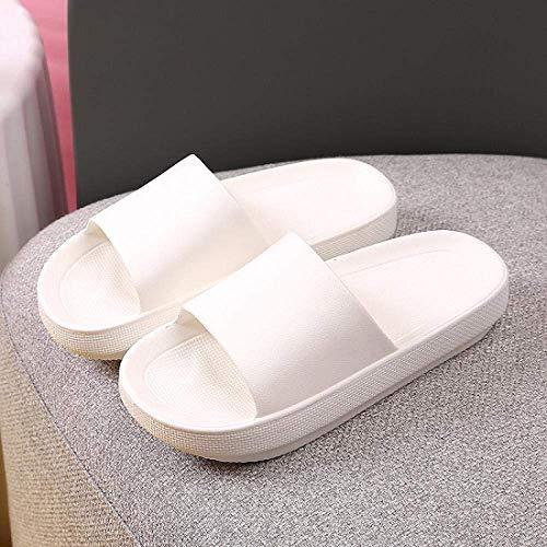 WXDP Pantuflas Calientes,Sandalias ergonómicas de Dedo del pie con Chanclas, de baño de Fondo ultragrueso, Antideslizantes, Zapatillas mudas aumentadas-40-41_White, Drain Quick Bathroom Mule ggsm