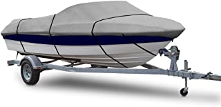 """Universal Boat Adjustable Storage Cover - 20-22'L to 106"""" Fishing Boats Protection Custom Heavy Duty Waterproof Mildew Weather Resistant Polyester Fabric Air Vents,  Elastic Cord,  Bag - Pyle PCVSPB334"""