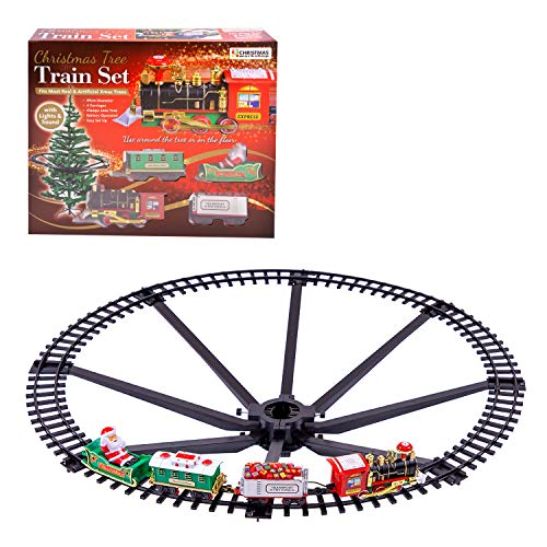 The Christmas Workshop 70129 Christmas Tree Train Set | Attaches To Your Tree | 89cm Diameter | Realistic Sounds & Lights | Battery Operated