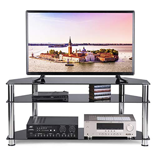 TAVR Black Tempered Glass Corner TV Stand Cable Management Suit for up to 55 inch Plasma LCD LED OLED Flat or Curved Screen TVs,3-Tier Gaming Consoles Media Component,Chrome Legs