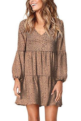 GOSOPIN Women Tunic Dress V Neck Floral Boho Shift Dresses Large Brown