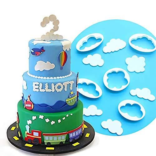 Palksky Cloud Fondant Cutter Fluffy Cloud Plastic Cookie Cutter Cake Mold Sugar Craft Mold Cake Decorating Tools(5PCS)