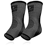 Achilles Tendon Support Brace, Plantar Fasciitis Sock, Ankle Compression Sleeve For Running, Tendonitis and Flat Feet Relief (Gray Black, Unisize)