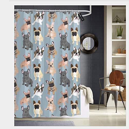 French Bulldog Shower Curtains with 12 Hooks Bathroom Curtain 72' x 72' (1)