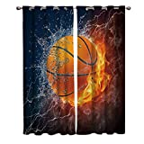 Blackout Curtain Window Drapes Thermal Insulated Curtains 2 Panels, Basketball Sport Fire Water Room Darkening for Living Room Bedroom Window Treatments 52x63inch