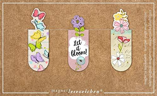 moses Magnetlesezeichen Let it bloom | 3er Set magnetisches Lesezeichen | charmant illustriert
