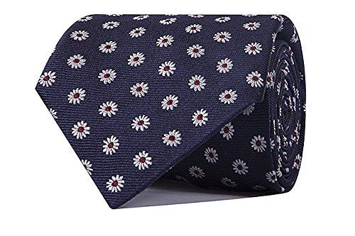 Sologemelos - Cravate Fleurs - Bleu 100% soie naturelle - Hommes - Taille Unique - Confection artesanale Made In Italy