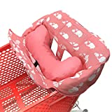 Soft Pillow Attached 2-in-1 Shopping Cart and High Chair Cover for Baby~Padded~Fold'n Roll Style~Portable with Free Carry Bag (Pink)