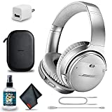 Bose QuietComfort 35 Series II Wireless Noise-Canceling Headphones (Silver) (789564-0020) + Headphone Cleaner + USB Power Adapter + MicroFiberCloth - Base Bundle (Renewed)
