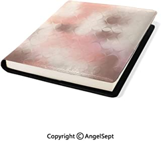Fashion Stretchable Book Covers,Abstract Square Shapes with Cross Pattern Warm Color Scheme Modern Artwork Coral Umber,9