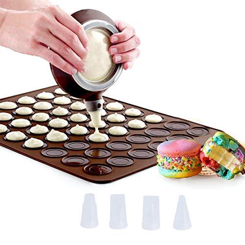 NACTECH Macaron Silicone Baking Mats Silicone Macaron Baking Mold Non-Stick 48 Capacity with 4pcs Nozzle