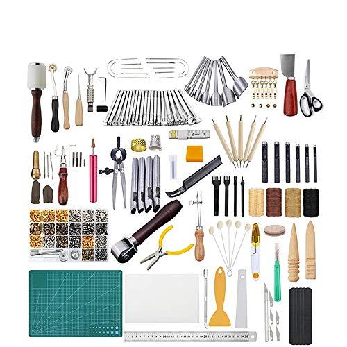 CHSEEO Artesanía del Cuero, 366 Piezas Juegos y Kits de Costura Kits de Repujado de Cuero Herramientas de Coser Perforadora de Cuero para Manualidades DIY Cuero Artesanía #1