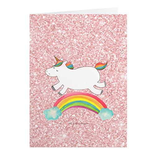 Mr. & Mrs. Panda Geburtstagskarte, Hochzeitskarte, Grußkarte Einhorn Regenbogen - Farbe Glitzer Rosa