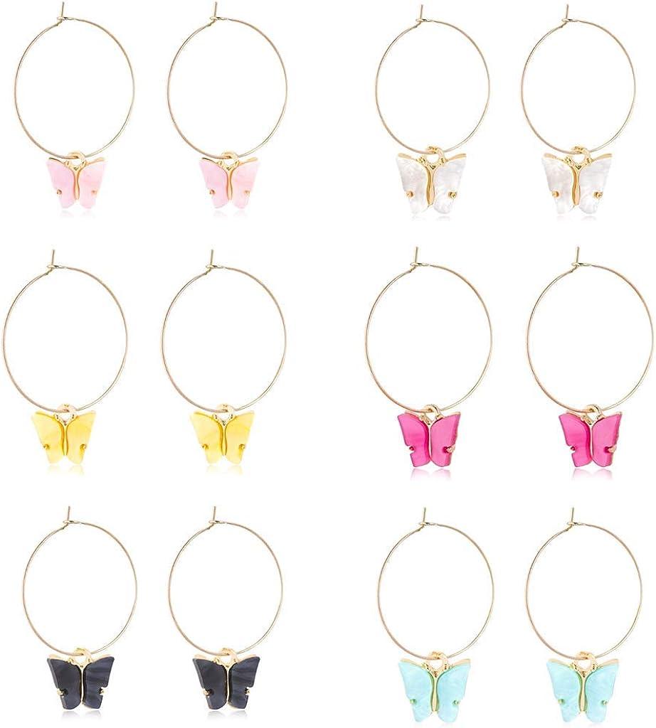 6 Pairs Acrylic Gold Butterfly Earrings Small Colorful Acrylic Animal Butterfly Dangle Earrings for Women Girls Jewelry Ear Dainty Hoop Earrings