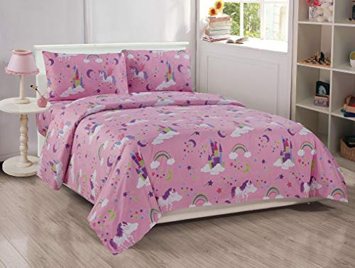 Better Home Style Pink Girls/Kids 4 Piece Sheet Set with Unicorns Castles and Rainbows in Magical Lands Includes Pillowcases Flat and Fitted Sheets # Unicorn Castle Lavender (Full)