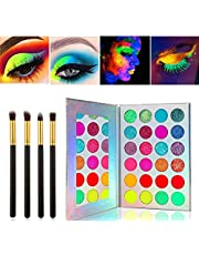 Kalolary Neon Luminous paleta cieni do powiek, cienie do powiek UV Glow Blacklight Matte i Sparkling Eyeshadow Glows In The Dark, 24 kolory wysoko pigmentowane zestaw do makijażu z 4 czarnymi pędzlami