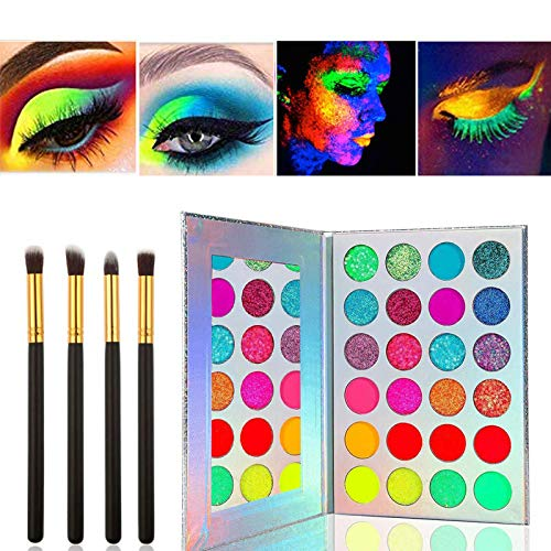 Kalolary Neon Luminous Lidschatten-Palette, UV Glow Blacklight Matte und Sparkling Eyeshadow Glows In The Dark, 24 Farben Hochpigmentiertes Make-up-Kit mit 4 schwarzen Pinseln