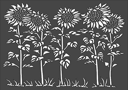 Max 47% online shopping OFF 1- 9x12 inch Custom Cut Stencil Arts PC-92 an Patch Sunflower