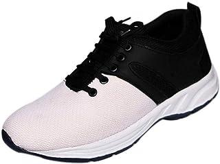 Bintpul Mens White Blue Gray Sneakers Shoes (8, White)