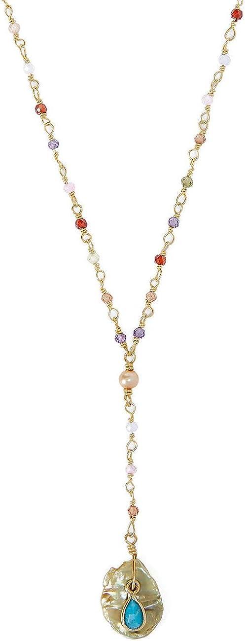 Chan Luu Multi Color Mix Goldtone Y Style Necklace