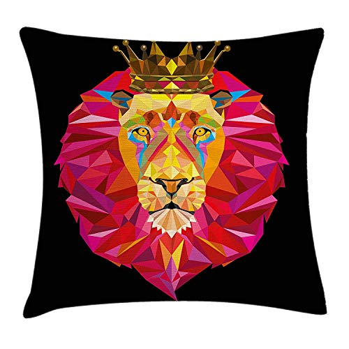 Lion Throw Pillow Cushion Cover, Polygonal Design Head of The Jungle King with Geometrical Shapes Crown Image, Decorative Square Accent Pillow Case, 18 X 18 inches, Black Pink Orange