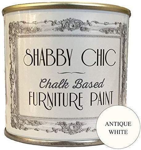 Shabby Chic Furniture Chalk Paint: Chalk Based Furniture and Craft Paint for Home Decor, DIY Projects, Wood Furniture - Chalked Interior Paints with Rustic Matte Finish - 250ml - Antique White