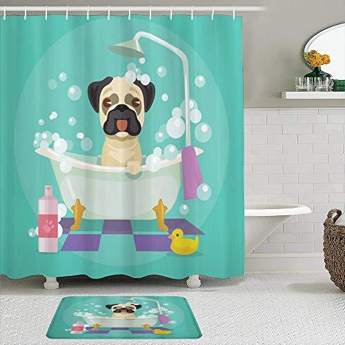 MIFSOIAVV Juego de Cortina de Ducha de2piezas con alfombras Antideslizantes,Perro Pug en la bañera Aseo Perrito Cachorro Salón Champú Pato de Goma Mascotas Dibujos Animados,con 12 Ganchos