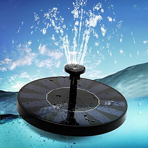 Aidodo Solar Springbrunnen, Solar Teichpumpe mit 6 Effekte Solar Wasserpumpe Solar schwimmender Fontäne Pumpe für Gartenteich Oder Springbrunnen Vogel-Bad Fisch-Behälter