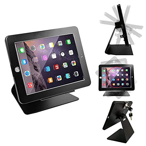 CarrieCathy iPad Desktop Anti-Theft Security Kiosk POS Stand Holder Enclosure with Lock & Key for Tablets iPad 2,3,4, iPad air, iPad air 2, iPad Pro 9.7', iPad 2017 & 2018, Flip & Rotate Design, Black