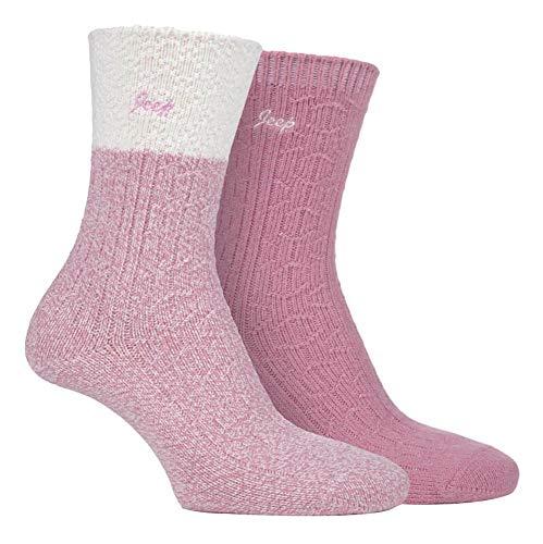 JEEP - 2 Pares Mujer Colores Calcetines de Punto Grueso   Calcetines para Trekking Montaña Senderismo (37-42, Crema/Rose)