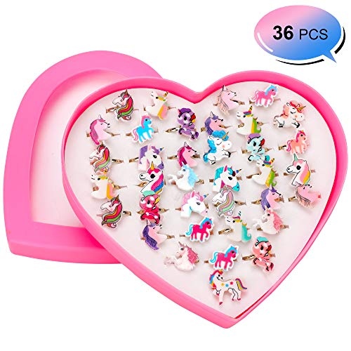 HOWAF 36 Pezzi Unicorno Festa Compleanno Regalo Bambini Anelli Bambina Regolabili con Vetrina a Forma di Cuore per Ragazze gaget Compleanno Bambini Festa Regali Giocattoli Bomboniere