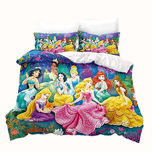 LKFFHAVD Juego de cama de princesas Disney – Juego de ropa de cama Rapunzel – Funda nórdica de...