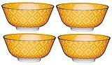 Kitchencraft Footed lunares/textile-patterned cuencos, 15,5cm (6') (Set de 4), cerámica, Naranja, 15,5x 15,5x 7,5cm