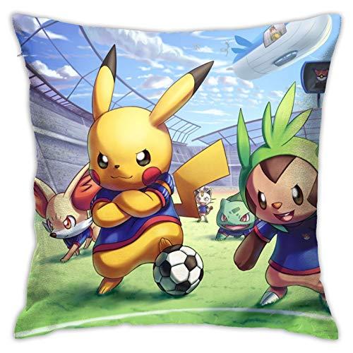 asdew987 Funda de almohada para detective Pikachu película Pikachu y amigos de fútbol mascota cartel decorativo funda de almohada cuadrada 45,7 x 45,7 cm
