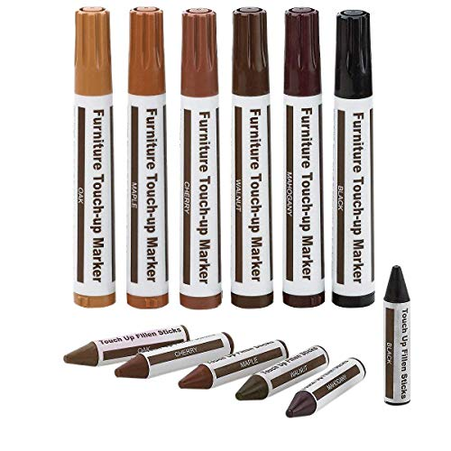 12pc ALAZCO Total Furniture Scratch Restore & Repair System & Touch-Up Kit - 6 Wax Stick Crayons & 6 Felt Tip Markers - Works on Leather Too!