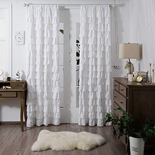 YJYANJUN Ruffle Curtains 84 inch Length Shabby Chic Window Curtain for Bedroom Farmhouse Single Panel ,White