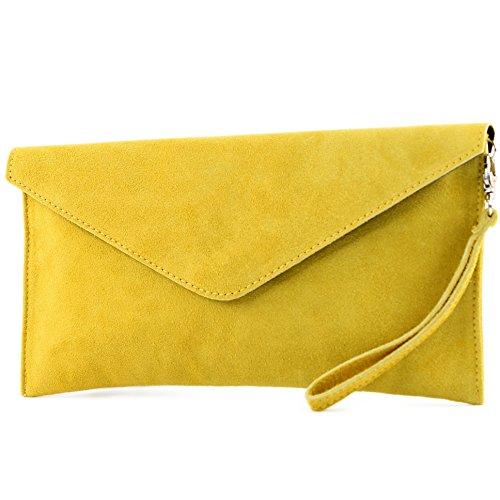 modamoda de - T106 - Bolso tipo Clutch de piel de ante, color Amarillo, talla Small