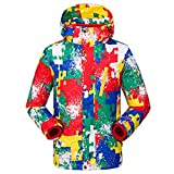 Winter 2 Pieces Jacket Outdoor Sports Windbreaker Camping Hiking Ski Coats,Red,XL