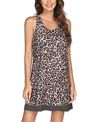 Ekouaer Sleepwear for Women Pajama Soft Rayon Sexy Nightgown Sleeveless Long Night Dress Loungewear Nightshirt Apricot