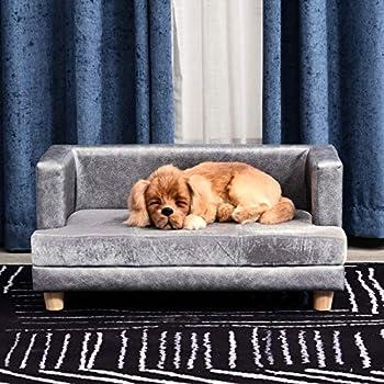 Pawhut Canapé Chien lit pour Chien Chat avec accoudoirs Coussin Moelleux Pieds Bois Massif dim. 68 x 41 x 32 cm revêtement synthétique Gris
